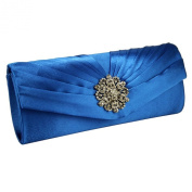 Crystal Flower Satin Evening Clutch Bag Or Purse With A Long Chain