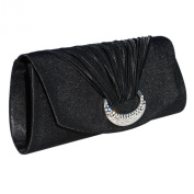 Sparkling Diamante Ribbed Satin Clutch Bag With A Long Chain And Inner Pocket