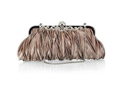 Demarkt Satin Pleated Frill Purse Clutch Wristlets with Crystal Shining Shoulder Chain Grey Wedding Party Bag Ladies Womens Evening Hand Bag