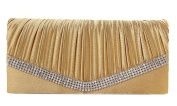 Demarkt Ladies Womens Evening Wristlets Satin Pleated Frill Purse Clutch Hand Bag with Crystal Diamente V Hem Shoulder Chain Gold Wedding Party Bag