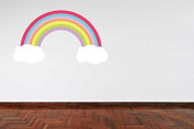 Full Colour Pastel Colour Rainbow and Clouds Girls Bedroom Wall Sticker Decal Kids Bedroom Decoration Nursery Baby Room
