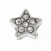 Living Memory Locket Necklace Floating Charms Silver Rhinestone Star Charm