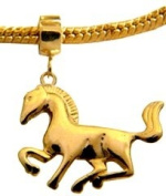 3D Horse Charm by BodyTrend -- 18K gold plated, looks like real gold - fits pandora & troll bracelets - hand polished and hand finished to fine jewellery standard