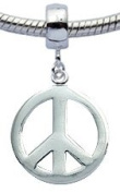 Peace sign charm by BodyTrend - fits pandora & troll bracelets - hand polished and hand finished to fine jewellery standard