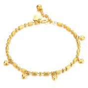 OPK Fashion Jewerly Little Peach Heart Yellow Gold Plated in Copper Women's Anklets
