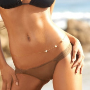 Bikini Beach Pearl Belly Waist Chain Crossover Harness Necklace In Gold