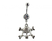 BONAMART ® Navel Belly Button Rings Dangle Sexy Body Piercing Surgical Steel Skull