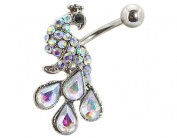 BONAMART ® Navel Belly Button Rings Dangle Sexy Body Piercing Surgical Steel Peacock