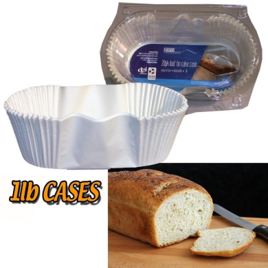 20 x OVAL 0.5kg BREAD LOAF MAKING WHITE DISPOSABLE PAPER TIN PAN LINERS CASES CAKE