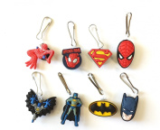 8 pcs Batman and Spiderman Zipper Pull Charms for Jacket Backpack Bag Pendant