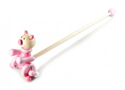 Cute Push Along Pink Pig Traditional Wooden Toy by Mousehouse Gifts