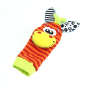 Estone 1Pairs Animal Infant Baby Kids Foot Sock Developmental Soft Rattles Toys