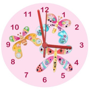 Butterfly Clock, Girl's Clock,Girl's Room Clock,Pink Clock