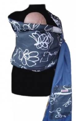 Palm and Pond Ring Sling - Grey & White Floral/Blue