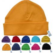 Newborn Baby Beanie Hat s (ORANGE) - Plain Soft 100% Cotton headwear New Baby Grow Boy Clothing Girl Cute Mum Dad Mummy Daddy Custom Parent Birth Gift bib Present by Fonfella