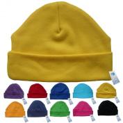 Newborn Baby Beanie Hat s (YELLOW) - Plain Soft 100% Cotton headwear New Baby Grow Boy Clothing Girl Cute Mum Dad Mummy Daddy Custom Parent Birth Gift bib Present by Fonfella