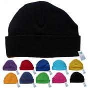 Newborn Baby Beanie Hat s (BLACK) - Plain Soft 100% Cotton headwear New Baby Grow Boy Clothing Girl Cute Mum Dad Mummy Daddy Custom Parent Birth Gift bib Present by Fonfella