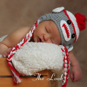 Toddler Baby Monkey Ear Flap Hat Beanie Crochet Handmade Cap