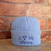 I Love My Mummy Newborn Baby Novelty Slogan Knitted Hat