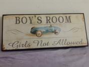 BOYS ROOM - Girls not allowed vintage look wooden plaque bedroom sign race car