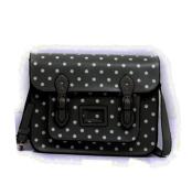 Large YASMIN BAGS 34cm Vintage Polka Dot Spotty Satchel/Cross Body Bag with FREE YASMIN BAGS trolley/locker coin keychain