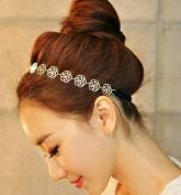 Bocideal Lovely Metallic Sweet Lady Hollow Rose Flower Elastic Hair Band Headband Gold
