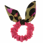 Johnny Loves Rosie Scrunchie with Black and Purple Bow, Pink