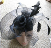 Black Net Fascinator Hat Veil - Wedding Ascot Races Hair Accessories Clip