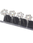 LondonProm @ 6 Of SPARKLY Silver flower DIAMANTE STONE HAIR PINS Diamante