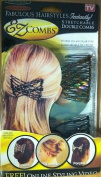 2 x EZ COMBS Silver & Brown Stretchable Double Hair Comb Twist Fountain Ponytail