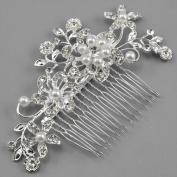 Caltrad Bridal Silver Diamante Hair Comb Clip for Wedding/Party/Prom