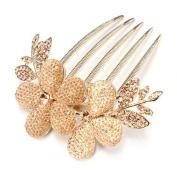 Five Season 1pcs Charm Fashion Lady Girl Flower Pattern Alloy Rhinestone Barrette Hair Clip Comb--Gold