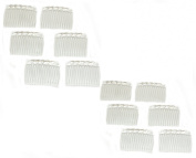 12x 7cm Clear Wedding Veil Hair Combs Slides