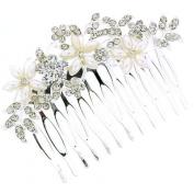 Bridal Hair Accessories - Silver, Crystal & Pearl Flower Hair Comb Slide