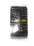 12 PACK OF BLACK PLASTIC HAIR COMBS SLIDES APPROX.7CM HAIR ACCESSORIES