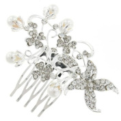Funky Silver Bunches and Crystal Hair Comb Slide - Free Gift Pouch / Box - BHC0138