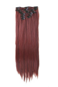 60cm Full Head Clip in Hair Extension Set Long Straight Synthetic Hair Extensions 8pcs mahogany red 35#