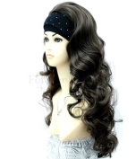 Forever Young Half Wig 3/4 Wig Fall Clip In Hair Extension - Colour : Dark Brown