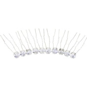 Bride Boutique Bridal Wedding Prom Silver Clear Crystal Diamante Heart Hair Pins Clips Grips