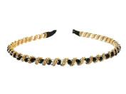 niceeshop(TM) Fashion Korea Style Bling Rhinestone Hair Hoop Crystal Bead Headband For Bang Fringe-Black