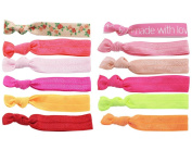 BONAMART ® 12 pcs No Crease Elastic Hair Band Ponytail Holder Ribbon Hair Ties Lot Wholesale for Girl & Women