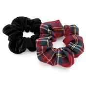 2 Red Tartan & Black Velvet Hair Scrunchies AJ28525