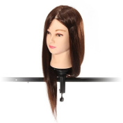 46cm 90% Real Human Hair Hairdressing Training Head Practise Model With Clamp