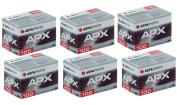 6pcs Agfa APX 100 135-36 Professional B & W Film