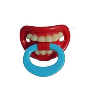 BABY DUMMY SOOTHER PACIFIER FUNNY TEETH NOVELTY WITH BLUE HANDLE