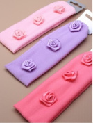 3 x Girls Bandeaux Hairband Headband with Double Rosebud Details In Baby Pink, Dark Pink and lilac