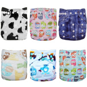 Alva Baby 6pcs Pack Pocket Washable Adjustable Cloth Nappies Nappies + 12 Inserts (Neutral Colour) 6DM05-EU