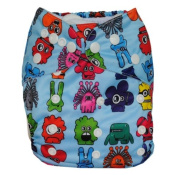 Alva Baby One Size Washable Reusable Cloth Nappy Fit for 2.7-15kg Baby with 2 Liners N31-EU