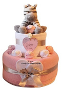 Two Tier Pink Baby Girls Zebra Nappy Cake Baby Gift - FREE DELIVERY