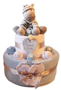 Two Tier Blue Baby Boys Zebra Nappy Cake Hamper Gift - FREE DELIVERY